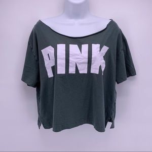 PINK by VS Green Cutout Neck Cropped Tee Size M